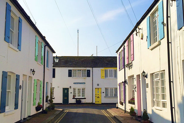 Colourful fishermen houses in Worthing