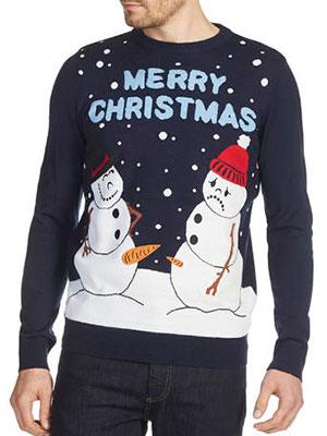Navy Funny Snowman Christmas Jumper