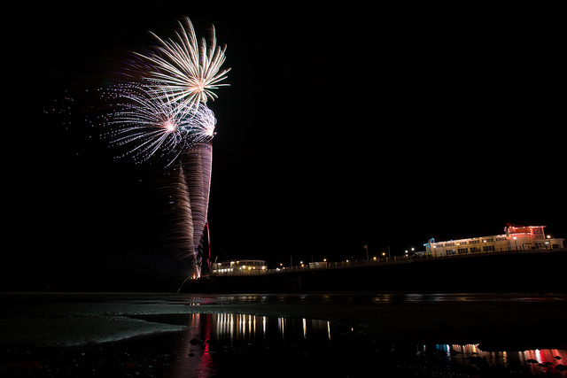 Fireworks off of Worthing Pier