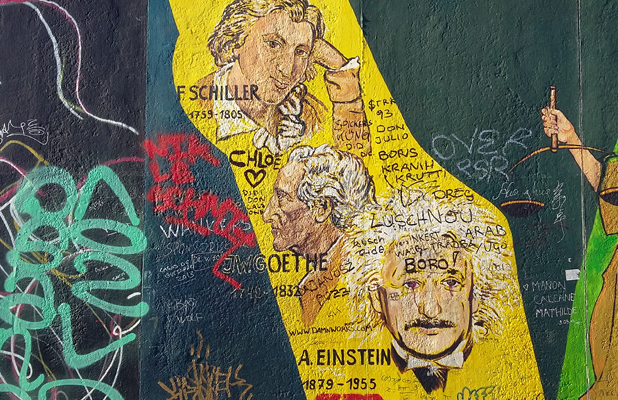 Einstein Graffiti Berlin Wall East Side Gallery