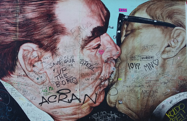 Kissing Embrace Berlin Wall East Side Gallery