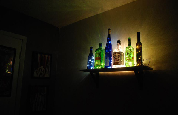 Christmas Lights Decorated Alcohol Bottles