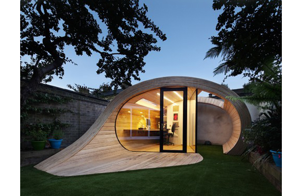Curvy And Wooden Designer Shed London