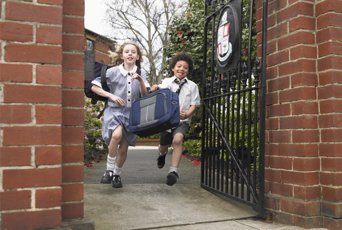 kids running out of school gate