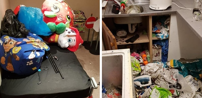 mess in rooms, kitchen covered in rubbish