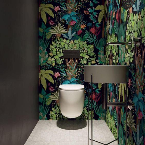 Botanical wallpaper for bathroom