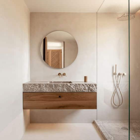 Minimalistic japandi bathroom