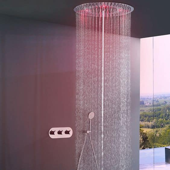 Chromotherapy shower system for smart bathroom