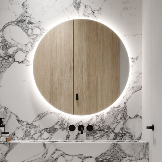 Integrated mirror lighting for bathroom